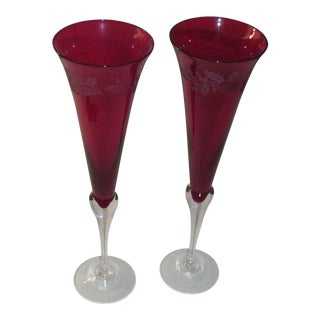 Late 20th Century Lenox Holiday Gems Toasting Flutes in Ruby Red - a Pair For Sale