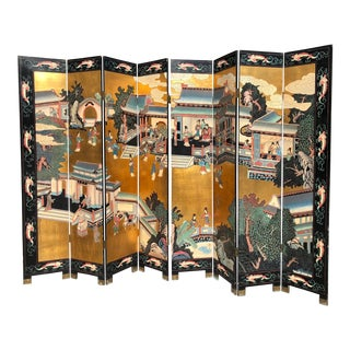 1960s Chinoiserie Coromandel 8 Panel Hand Painted Folding Screen For Sale