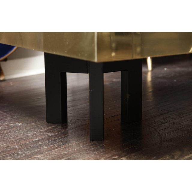 Gold Spectacular Etched Brass and Double Agate Rectangular Cocktail Table For Sale - Image 8 of 10