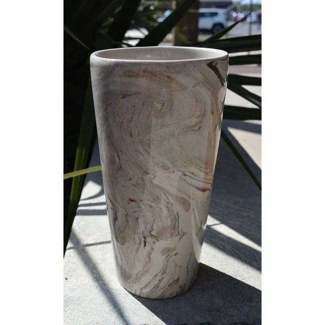 Boho Chic Marbled White & Brown Vase For Sale - Image 3 of 5
