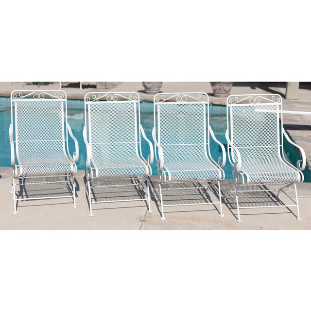 Vintage Patio Mesh Table & Bouncer Chairs - S/5 - Image 7 of 7
