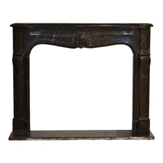 "Louis XV Fireplace in ""Noir De Sablé"" Marble, 18th Century With Original Floor For Sale"
