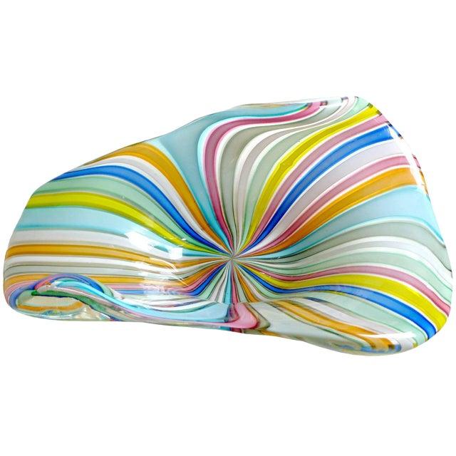Fratelli Toso Murano Rainbow Colors Filigrana Ribbons Italian Vintage Art Glass Bowl For Sale