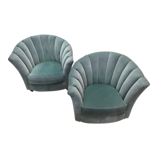 Blue Velvet Chairs- A Pair For Sale