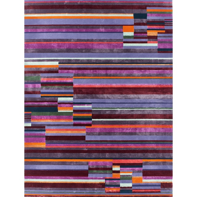 2010s Schumacher Patterson Flynn Martin Paul Hand Tufted Wool Nylon Striped Rug For Sale - Image 5 of 5