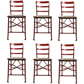 Set of Six Industrial Angle Steel and Wood Chairs For Sale