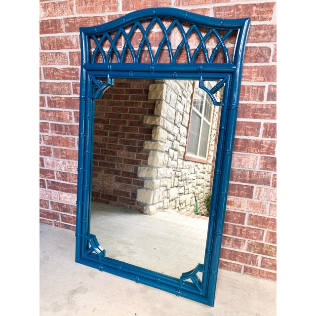 Vintage Thomasville Allegro Faux Bamboo Mirror. Professionally sprayed in a high gloss finish sapphire.
