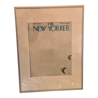 """1964 """"The New Yorker"""" Skiing Cover in Silver Frame For Sale"""