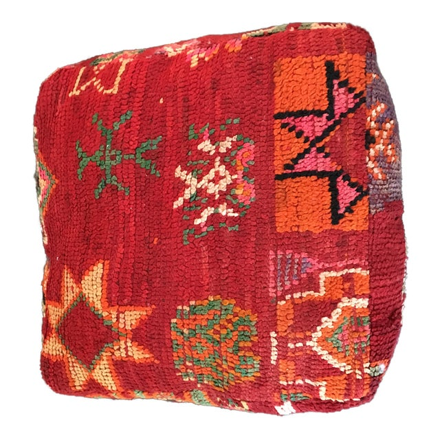 Red Moroccan Boho Chic Floor Pouf - Image 1 of 4