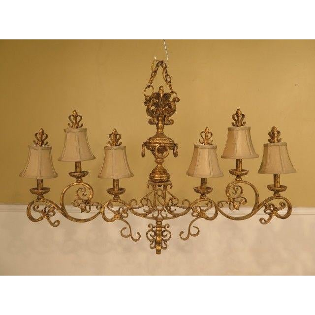 Gold Chelsea House Venetian Decorated Iron 6 Light Island Chandelier For Sale - Image 8 of 8