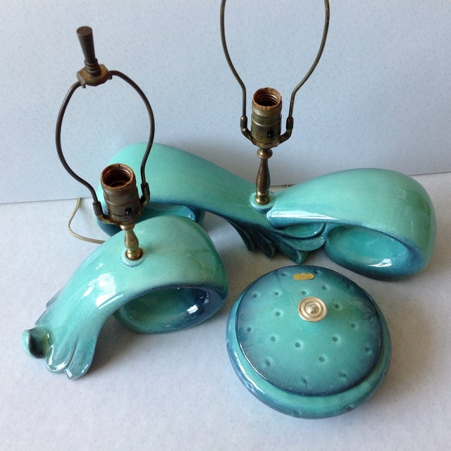 Mid-Century Sea Foam Green & Blue Pottery Lamp Set For Sale - Image 9 of 11