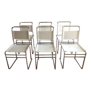 Scandinavian Modern Milo Baughman Style White Fabric Chrome Dining Chairs - Set of 6