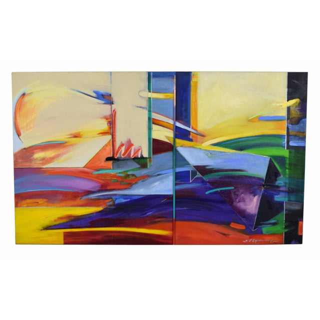 1990s Abstract Geometric Oil Painting For Sale - Image 11 of 11