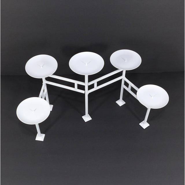 Danish Modern 20th Century Danish Modern White Metal Articulating Mantle Candle Holder For Sale - Image 3 of 7
