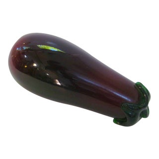 Italian Venetian Murano Large Hand Blown Glass Eggplant Figurine For Sale