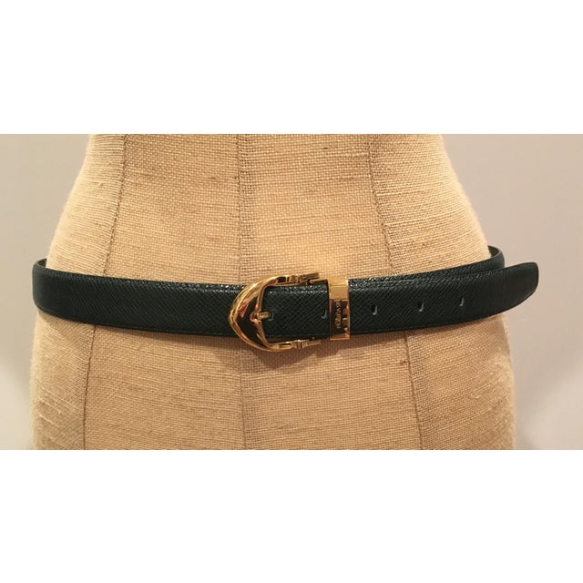 Animal Skin Louis Vuitton Emerald Green Ladies Leather Belt For Sale - Image 7 of 7