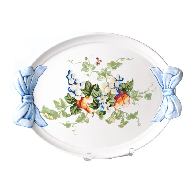 Italian Hand-Painte Platter by Marina Isetta Duval For Sale - Image 4 of 4