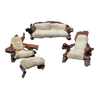 Mid-Century Redwood Furniture Suite - 4 Pieces For Sale