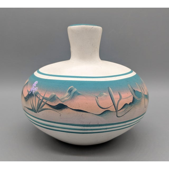 1960s 1969 Native American New West Hand Painted Pink and Blue Pottery Vase For Sale - Image 5 of 8