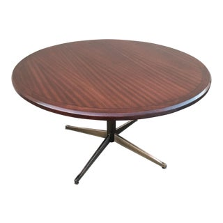 Florence Knoll Rosewood on Bronze-Plated Chrome Dining / Conference Table For Sale