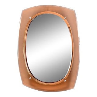 Cristal Arte Oval Mirror With Pale Coral Glass Frame For Sale