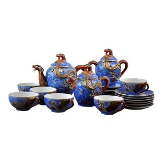Dragon Ware Moriage Satsuma 21 Piece Tea Set 20c Lithopane For Sale