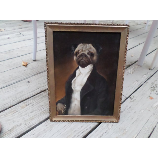 Portrait of a Pug, Contemporary Oil on Board For Sale - Image 9 of 9