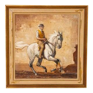Original Oil on Panel Painting of Trainer on a White Race Horse, Signed John Sjovard For Sale