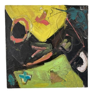 Vintage Postmodern Abstract Sgraffito Oil Painting For Sale