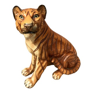 Mid-Century Marwal Chalkware Bengal Tiger Figurine For Sale