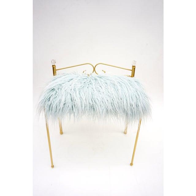 Boho Chic Vintage Vanity Bench | Gold Metal & Light Blue Faux Fur Boudoir Chair For Sale - Image 3 of 9