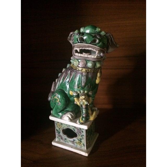 Green Famille-Verte Porcelain Foo Dogs - Pair For Sale - Image 8 of 9