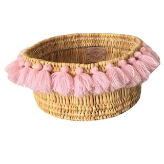 Moroccan Light Pink Tassel Small Basket For Sale