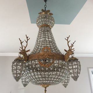 Brass and Crystal Chandeliers With Stag Detail - a Pair Preview