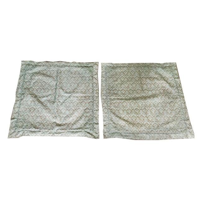 Aged Fortuny Fabric Euro Shams - Pair - Image 1 of 6