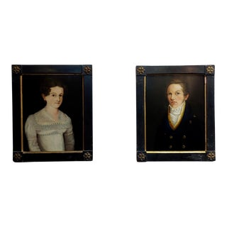 "19th Century ""Husband & Wife"" English Portrait Oil Paintings - a Pair For Sale"
