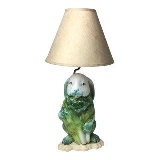 Italian Bunny Rabbit Pottery Table Lamp
