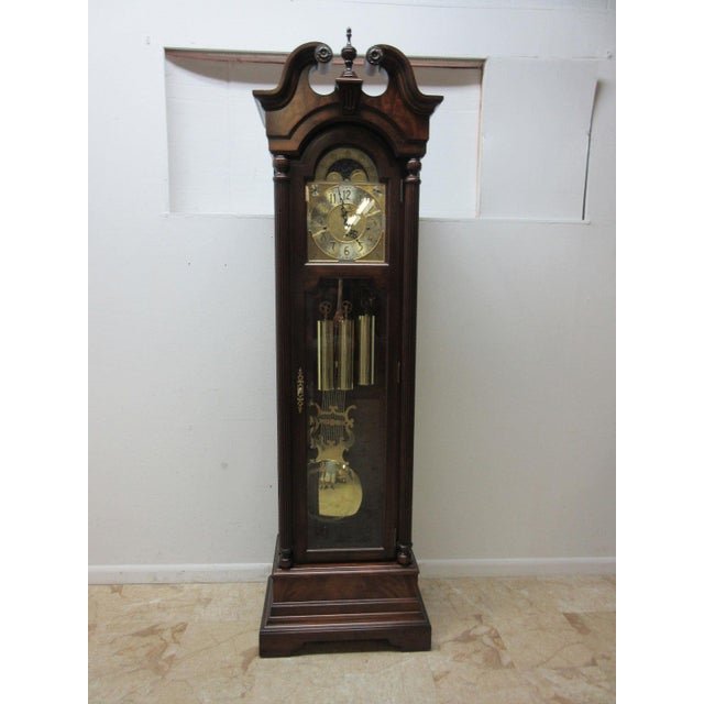 American Classical Cherry Flame Mahogany Broken Arch Grand Fathers Clock For Sale - Image 3 of 10