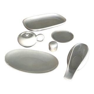 1950s Vintage Russel Wright Modern American Dinnerware in Granite Gray - Set of 7 For Sale