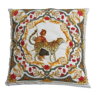 Italian Salvatore Ferragamo Silk Pillow For Sale