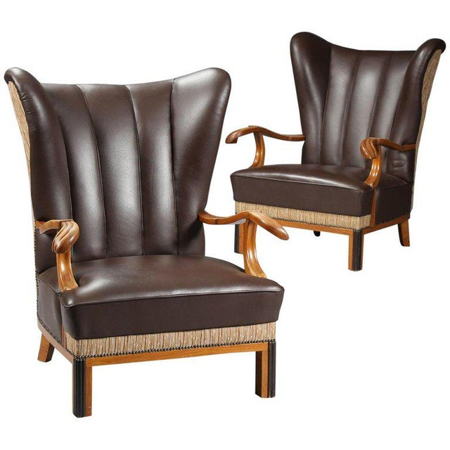1940s 1940s Vintage Danish Leather Wingback Chairs - A Pair For Sale - Image 5 of 5