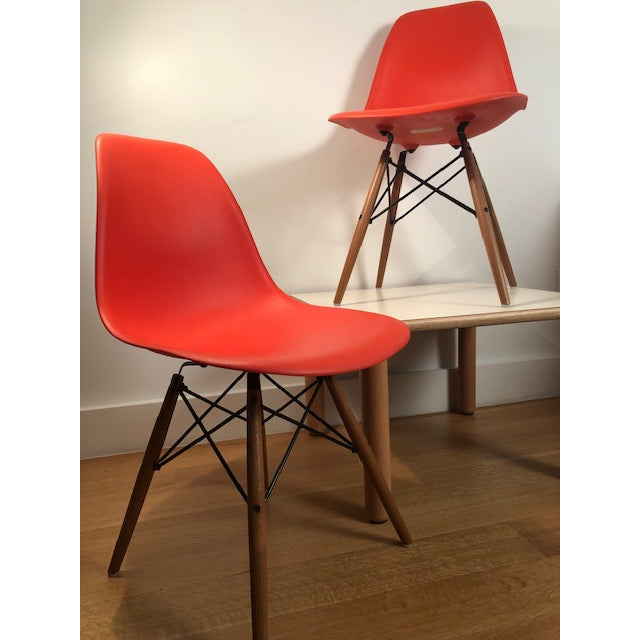 Herman Miller Eames Molded Plastic Side Chairs - A Pair For Sale - Image 4 of 5