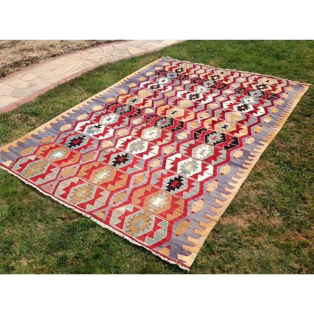 "Vintage Turkish Kilim Rug - 6'9"" x 9'3"" - Image 3 of 7"