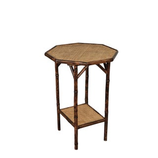 Jw Custom Line Octagonal Tiger Bamboo Side Table For Sale