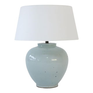 Two Celadon Vase Table Lamps For Sale