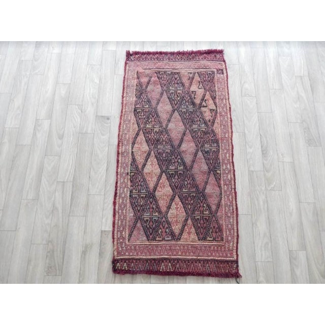 Ruby Red Masterwork Hand-Woven Rug Braided Small Kilim 1′6″ × 3′ For Sale - Image 8 of 8
