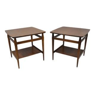 Vintage Mid-Century Modern Walnut 2 Tier End Tables - A Pair