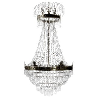Large Dark Brass Empire Style Crystal Octagons Chandelier For Sale