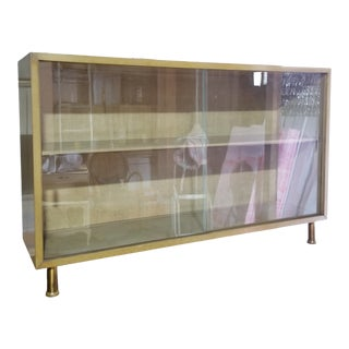 Mid Century 1950's China Display Cabinet Bookcase With Sliding Glass Doors For Sale
