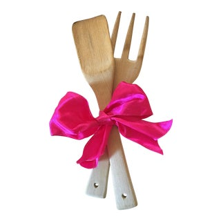 Rustic Hand Carved Wooden Fork & Spoon